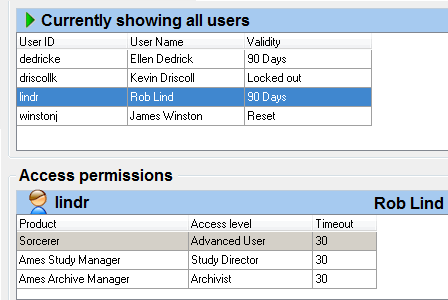 System Access Manager users and permissions